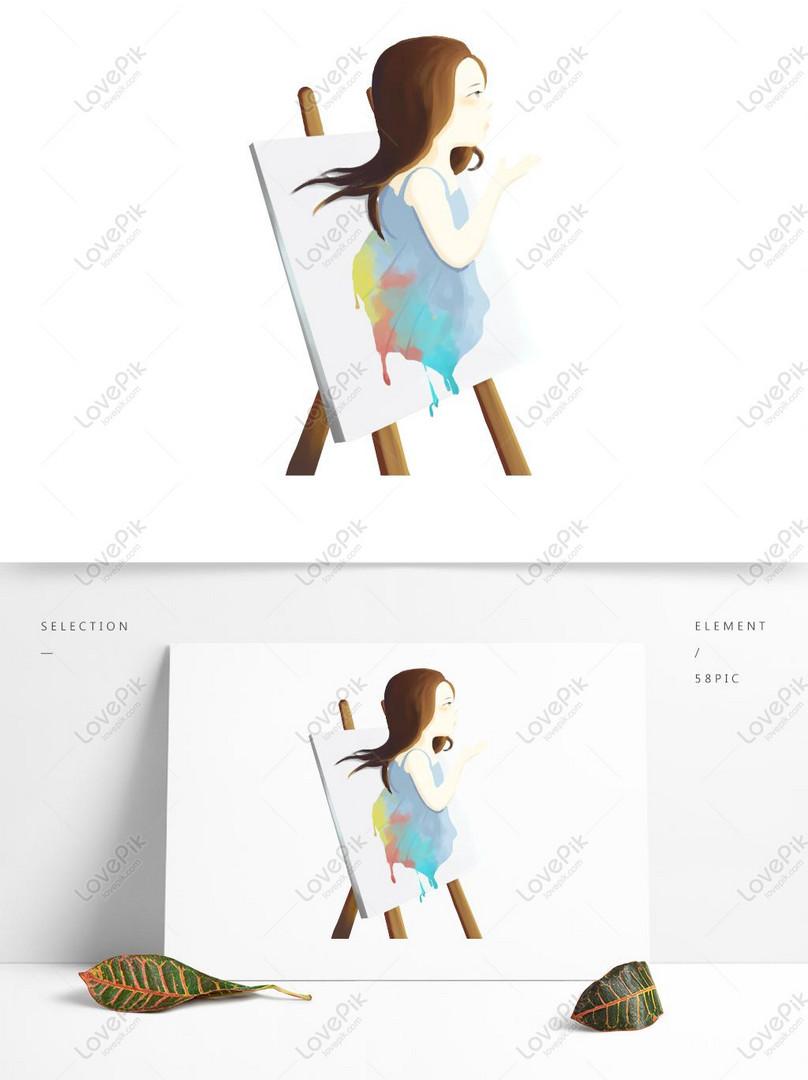 Tangan Gadis Menarik Lukisan Elemen Elemen Gambar Unduh
