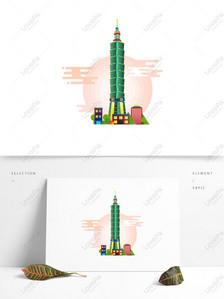 City buildings Taipei 101 building vector elements Graphics