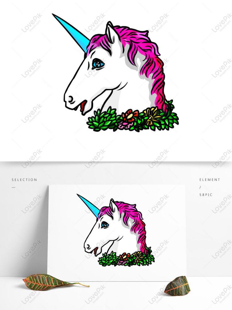 Fantasy Fantasi Unicorn Warna Kartun Bahan Ps Gambar Unduh