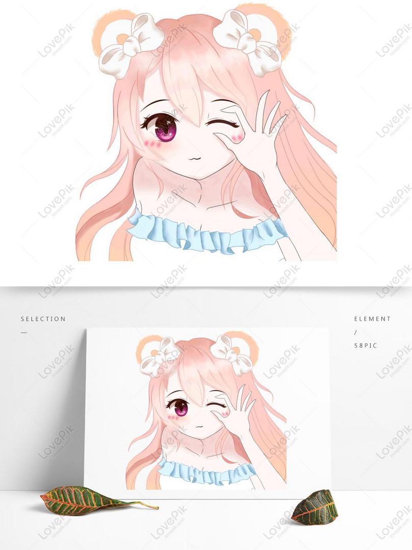 lindo oso femenino anime avatar material de ilustración
