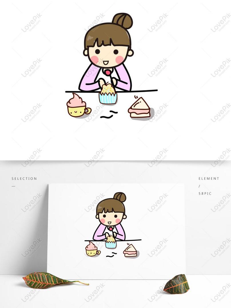 Gadis Kartun Lucu Makan Makanan Ringan Gambar Unduh Gratis