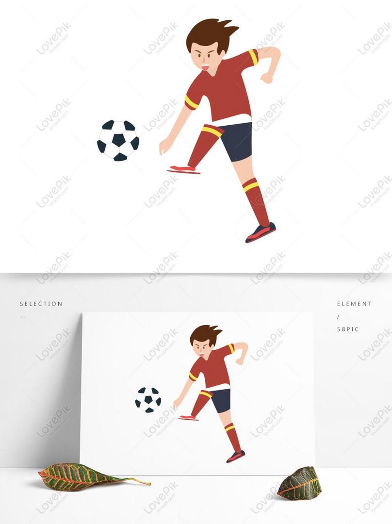 Desain Elemen Pemain Menendang Bola Gambar Unduh Gratis