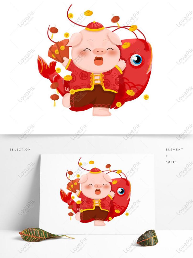 Tahun Babi Babi Hewan Kartun Gambar Ilustrasi Lucu Asli