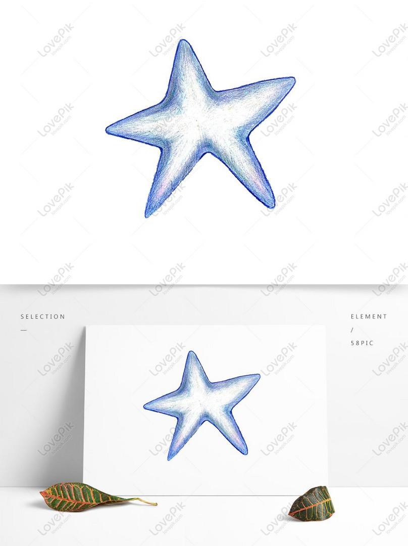 Mavi Kucuk Yildiz Kabuk Kucuk Taze El Boyamasi Renk Kursun