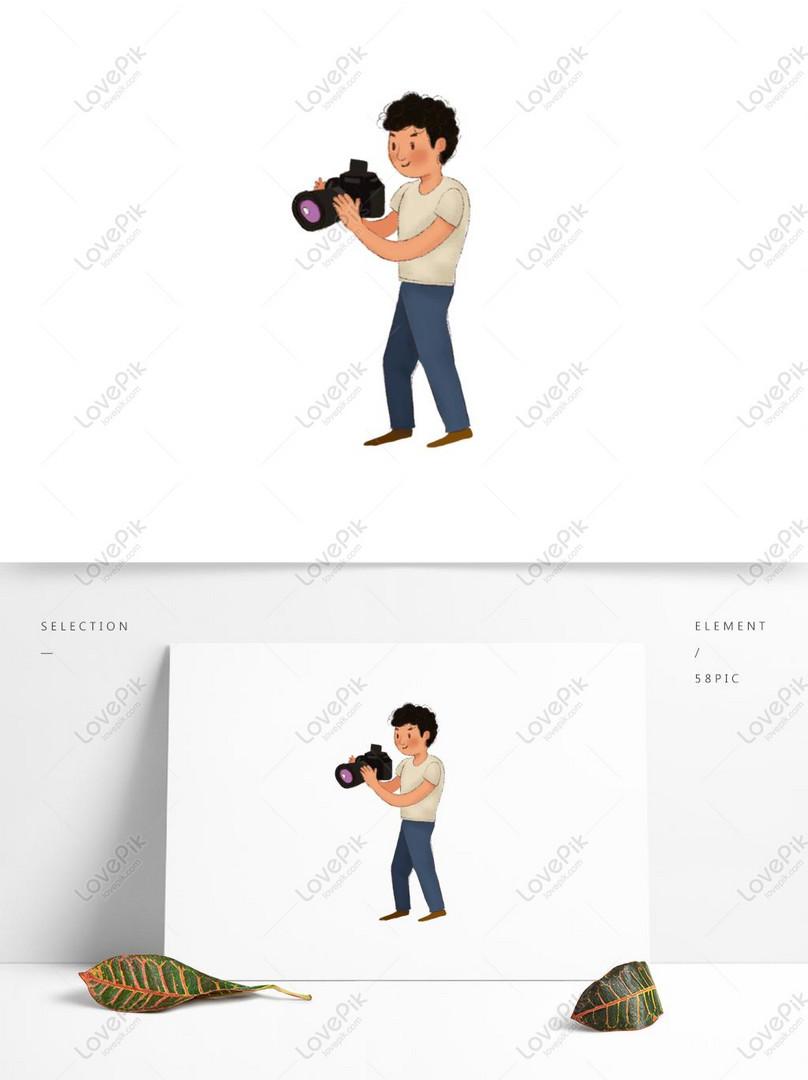 手描き漫画かわいい絵本スタイルの写真家のキャラクターイラストイメージ グラフィックス Id Prf画像フォーマットpsd Jp Lovepik Com