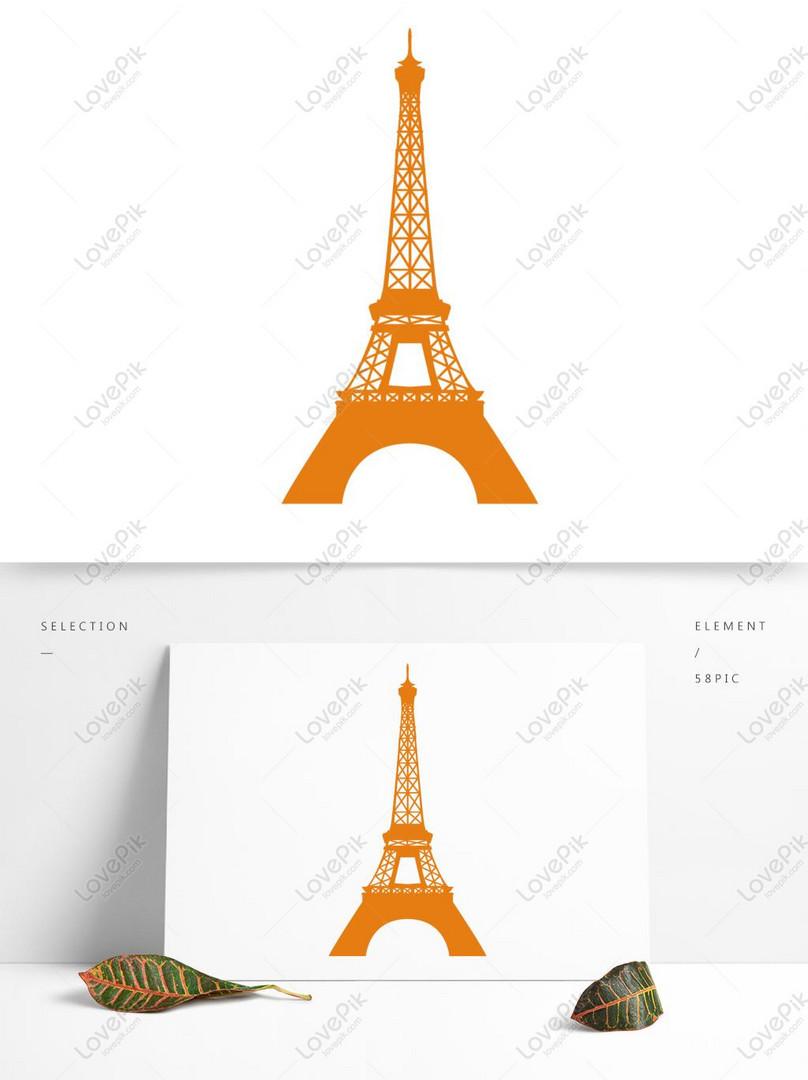 Kartun Menara Eiffel Kuning Kertas Memotong Elemen Vektor