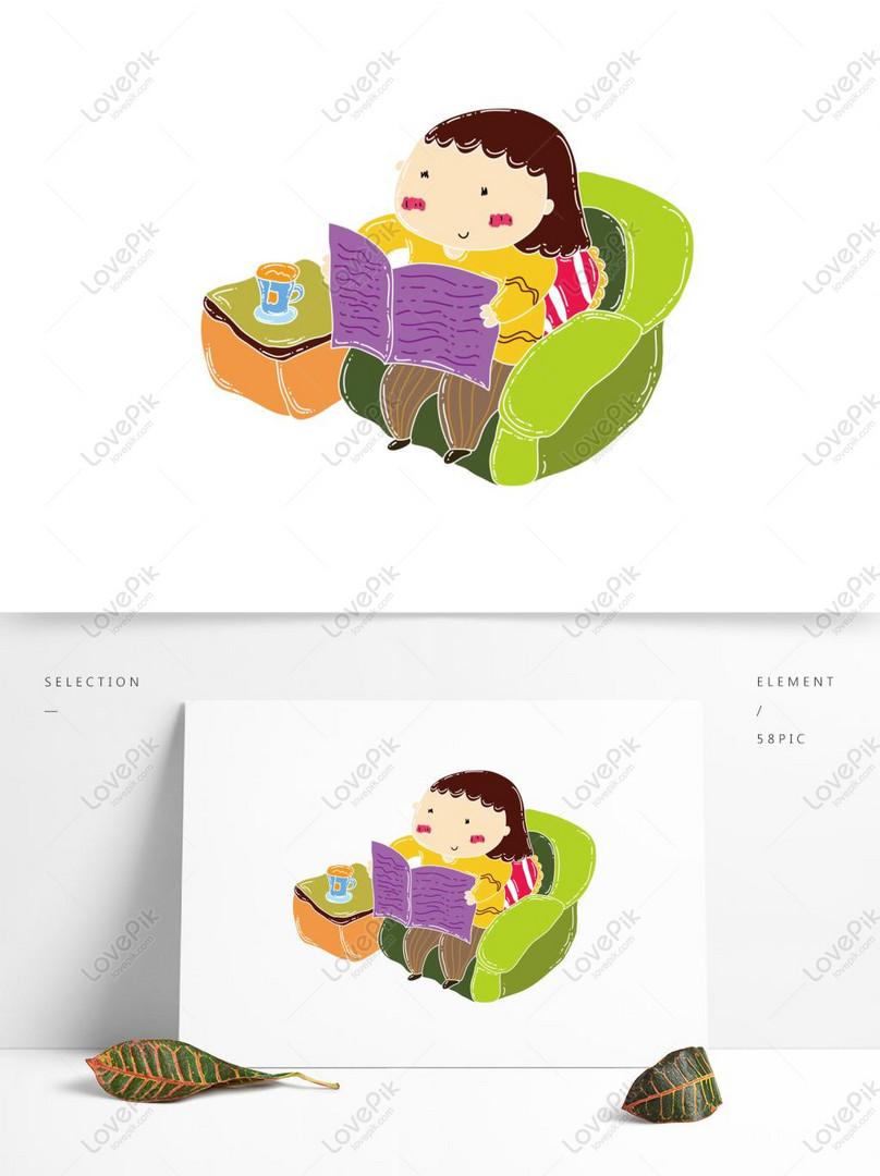 Desenhos Animados Mao Desenhada Menina Lendo Jornal Com Elemento