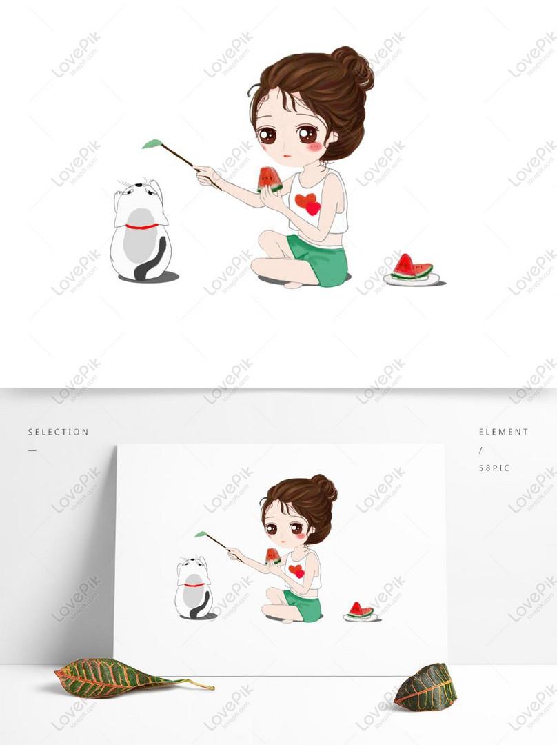 hạ chí ăn dưa hấu mèo vui cô gái psd minh họa