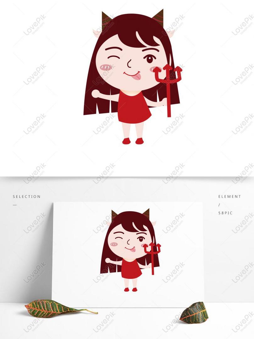 Kartun Lucu Capricorn Girl Ai Element Character Gambar Unduh