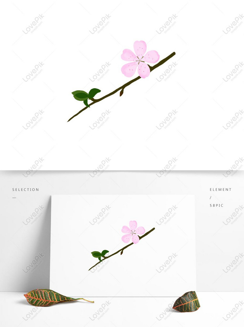 hand painted pink peach blossoms for commercial elements