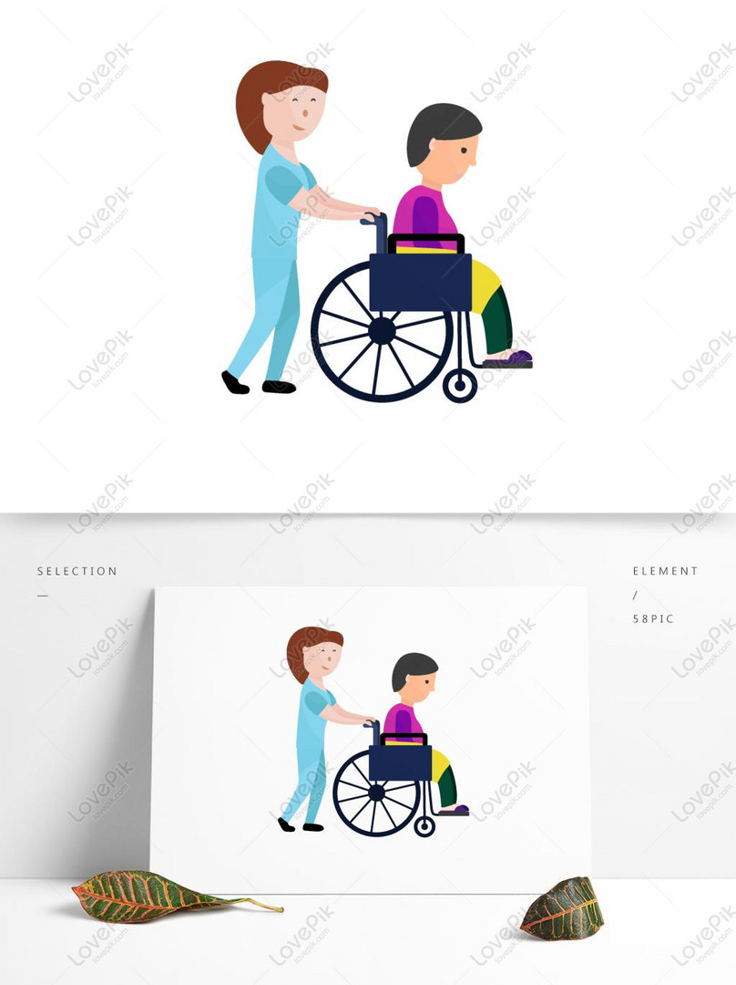 Cartoon Nursing Home Care Worker Pushes The Original Elements Of Ai Images Free Download 1369 1024 Px Lovepik Id 732191025