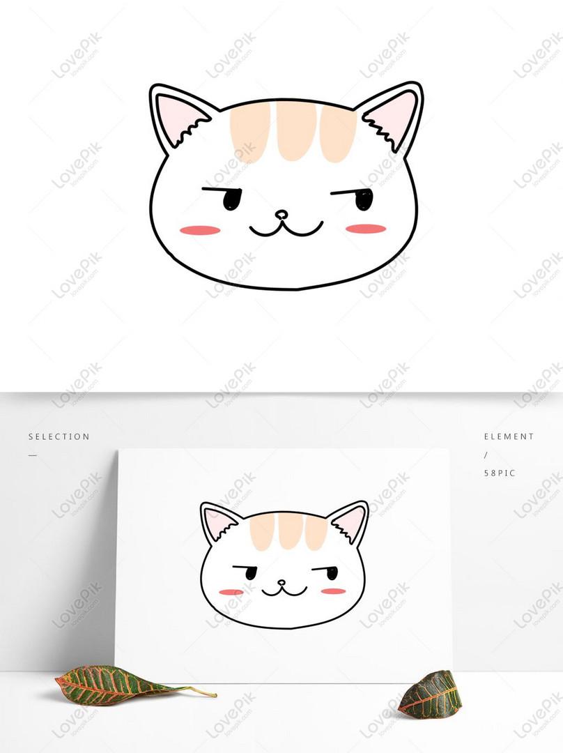Cartoon Cute Cat Head Cat Animal Expressions Mercial