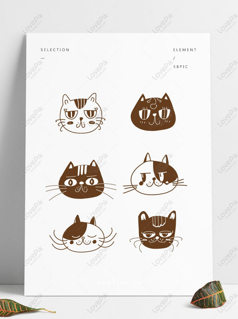 Kartun El Tangan Dicat Hitam Dan Putih Baris Kucing