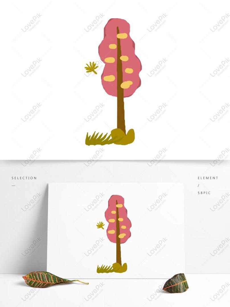 Pokok Pokok Merah Kartun Yang Ditarik Tangan Unsur Unsur
