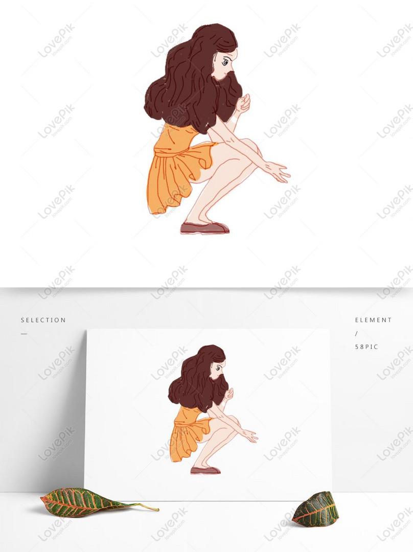 Gadis Kartun Dengan Elemen Asli Berjongkok Di Lantai Gambar