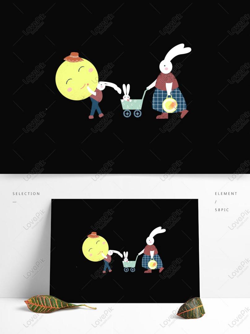 Desain Ilustrasi Keluarga Kelinci Kartun Lucu Gambar Unduh
