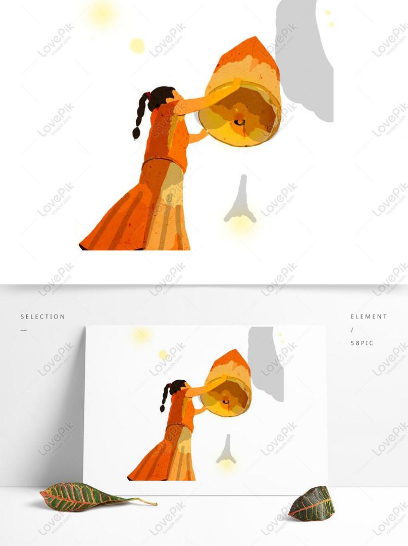 Gadis Lukisan Tangan Yang Berdoa Untuk Festival Pertengahan