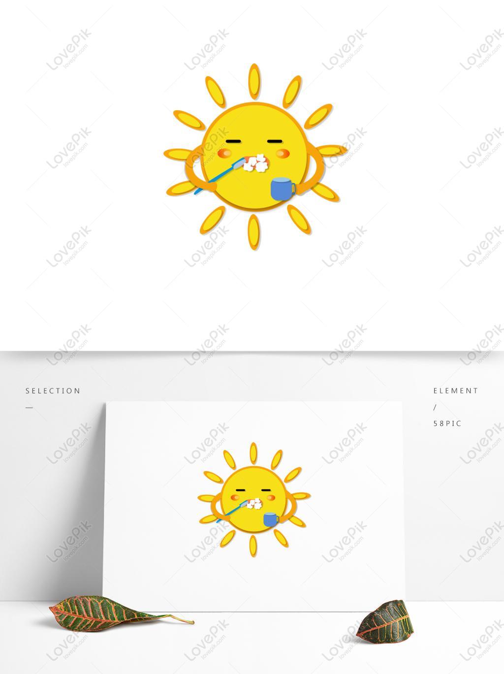 Kartun Matahari Kuning Elemen Bayi Menyikat Gigi Di Pagi