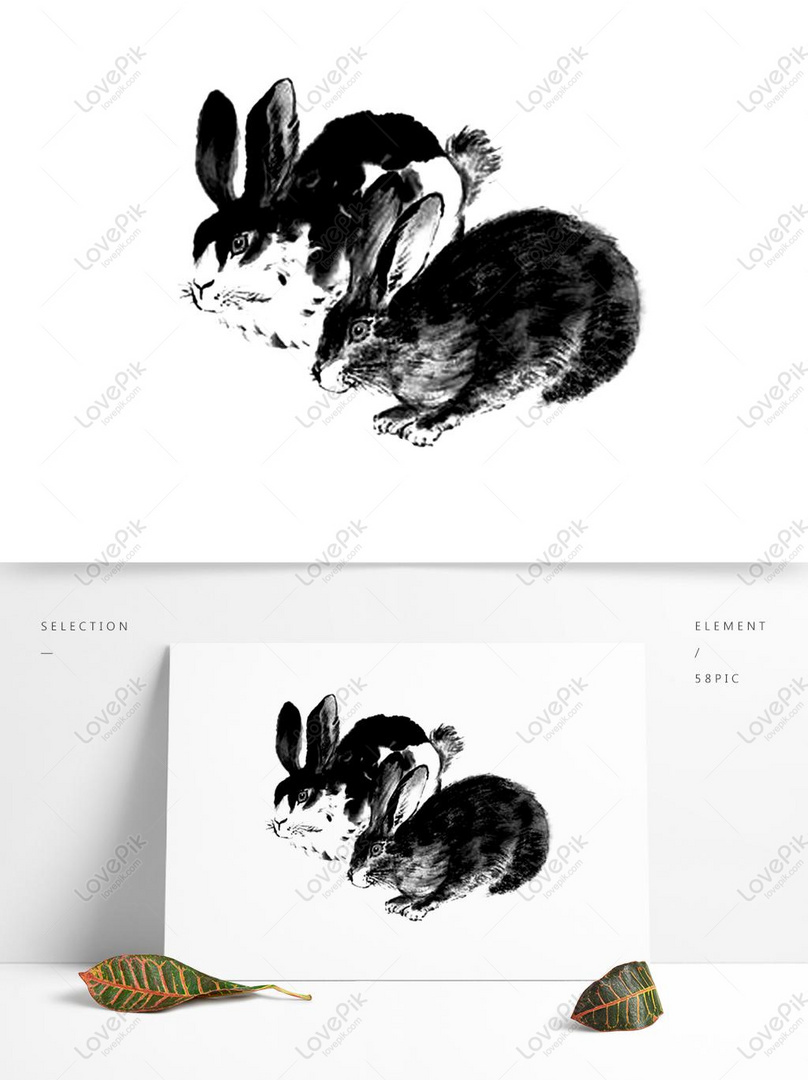Rabbit Chinese Painting Ink Animal Creative Design PSD