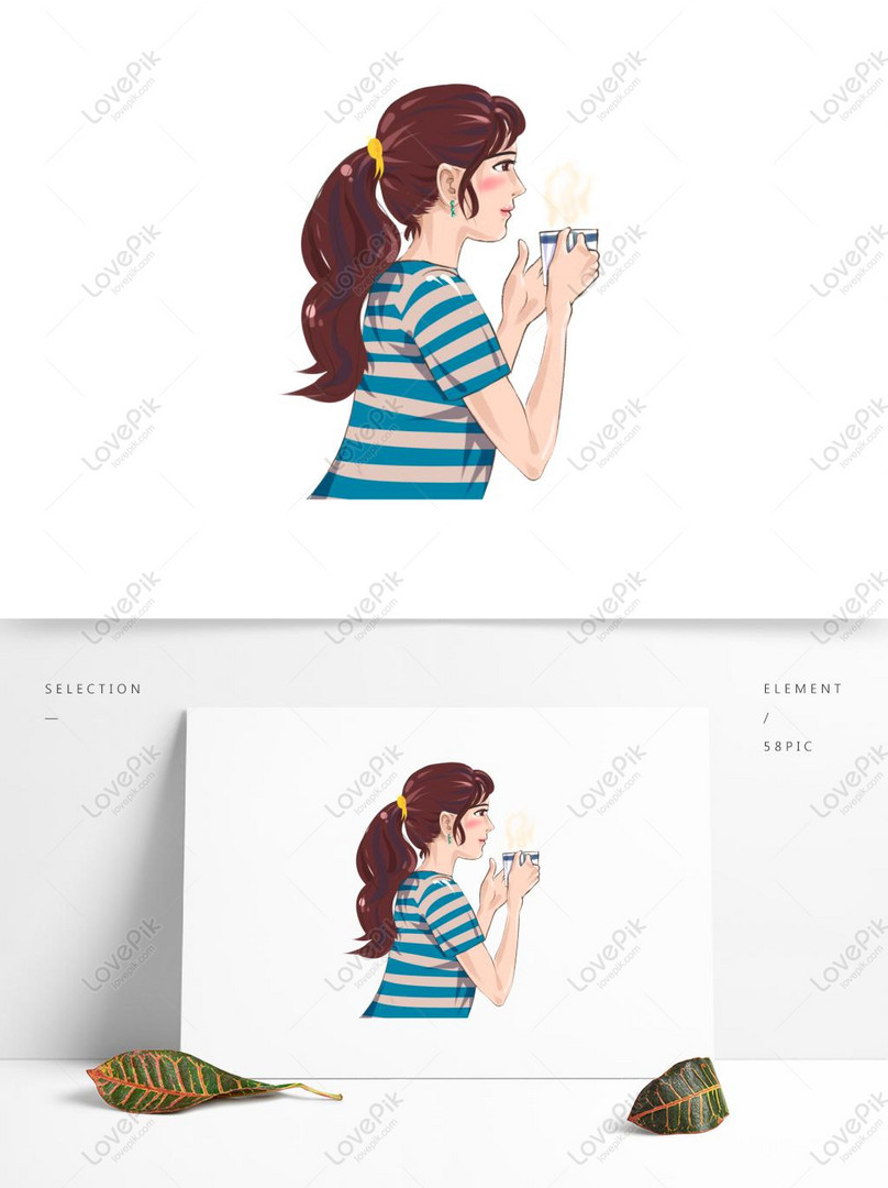 Elemento Lateral De Beber Café De Dibujos Animados Mujer Imagen  Descargar_PRF Gráficos 732249600_PSD Imagen Formato_es.lovepik.com