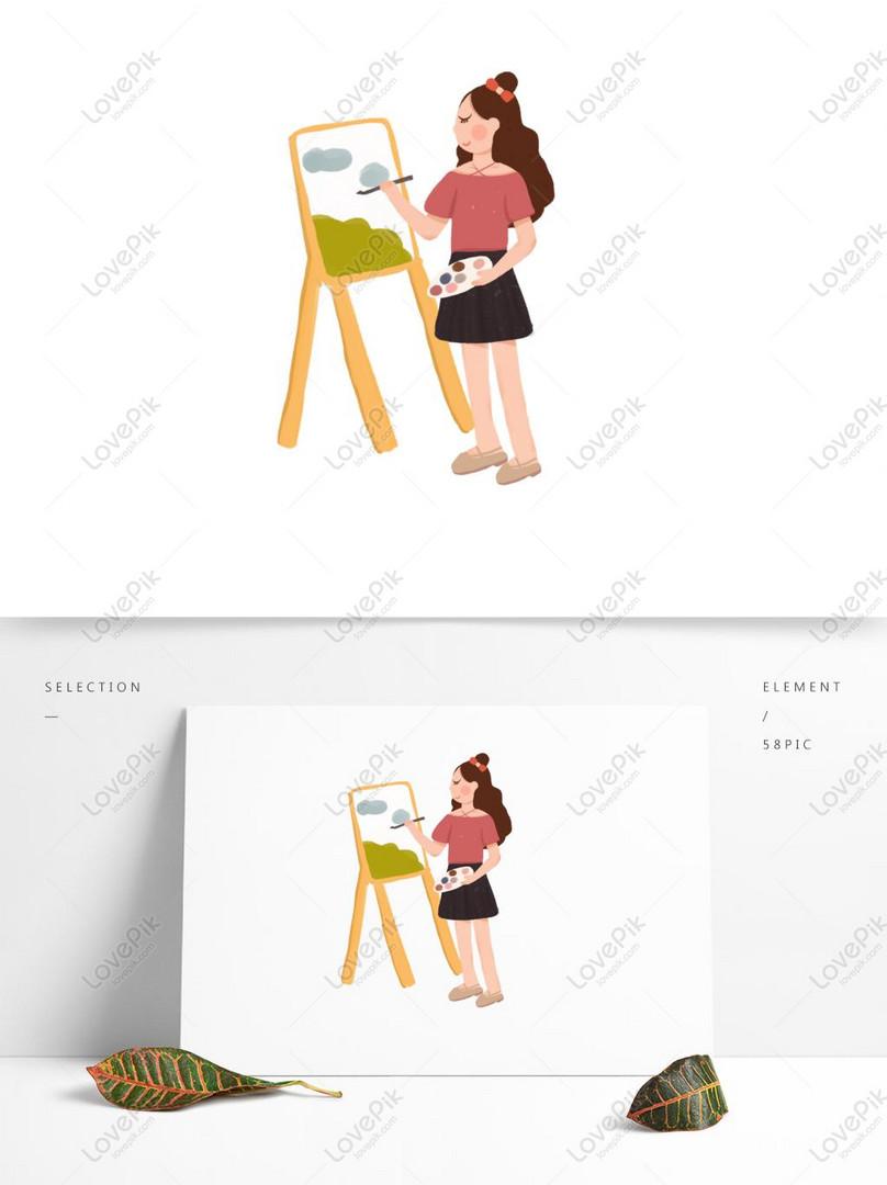 Kartun Gadis Melukis Cat Air Pada Papan Kuda Gambar Unduh