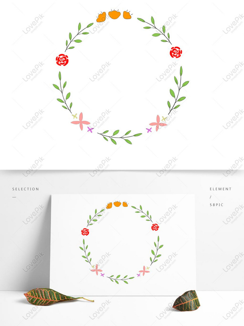 Simple Fresh Hand Painted Floral Red Flower Element Border Psd