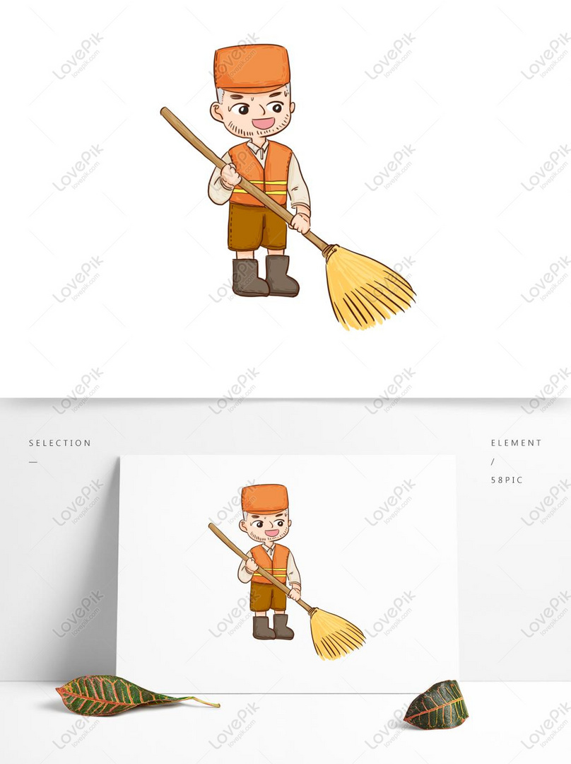 Hand Drawn Cartoon Happy Man Sweeping The Floor With