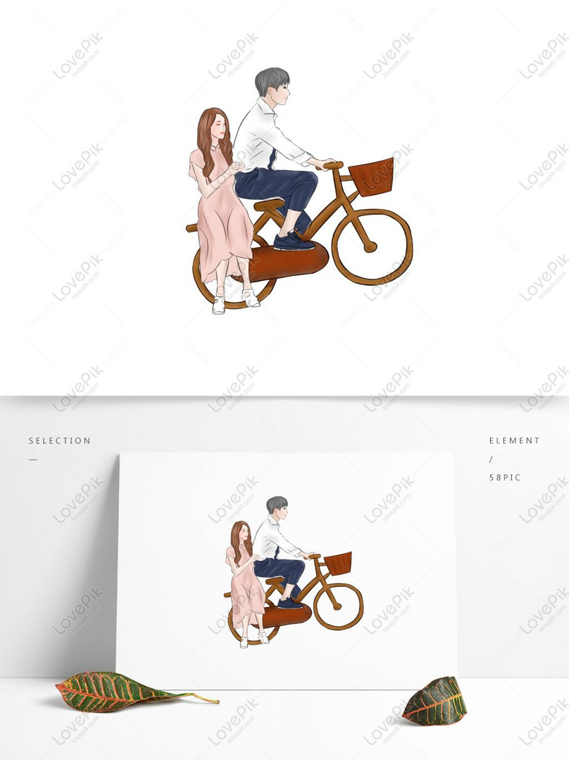 Kartun Romantis Pasangan Muda Mengendarai Sepeda Gambar