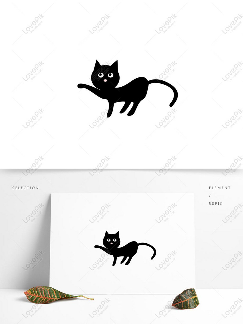Cartoon Zwierząt Mały Czarny Kot Trzymać Postać Darmowe