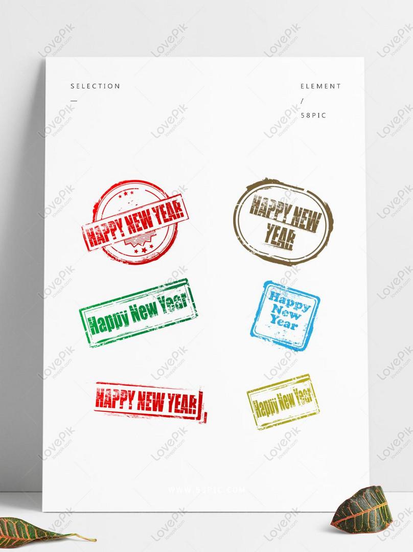 seis feliz año nuevo sello frontera vector icono material