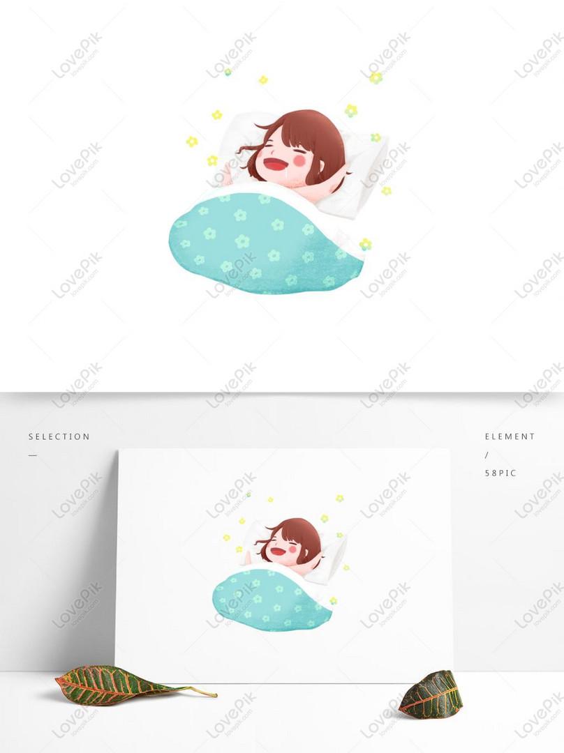 Selamat Pagi Elemen Kartun Lucu Biru Segar Gadis Tidur Pagi