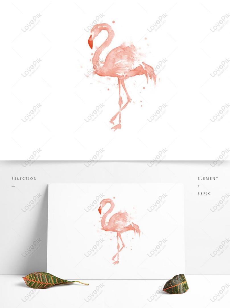 Lukisan Cat Warna Flamingo Air Tangan Kanak Kanak Gambar Unduh Gratis Imej 732327897 Format Psd My Lovepik Com