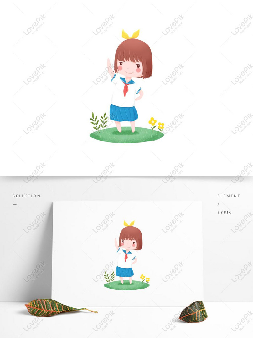 Selamat Pagi Elemen Kartun Lucu Biru Segar Gadis Latihan