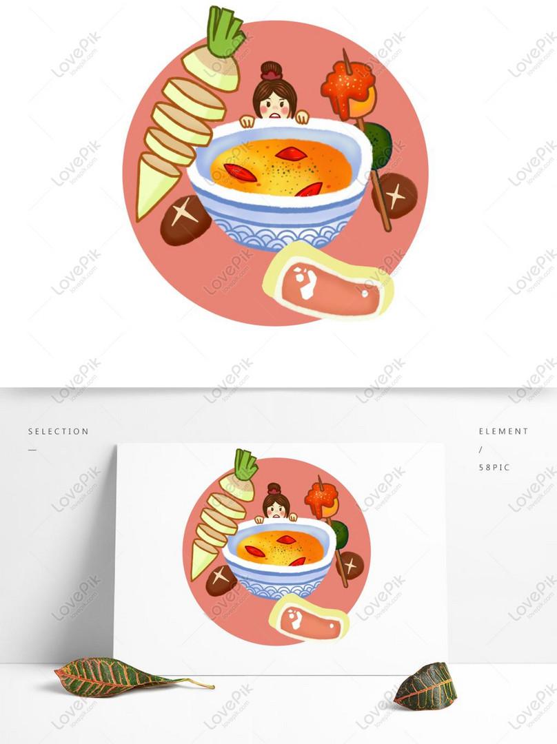 Ilustrasi Tangan Asal Yang Digambarkan Kartun Makanan Comel Meni