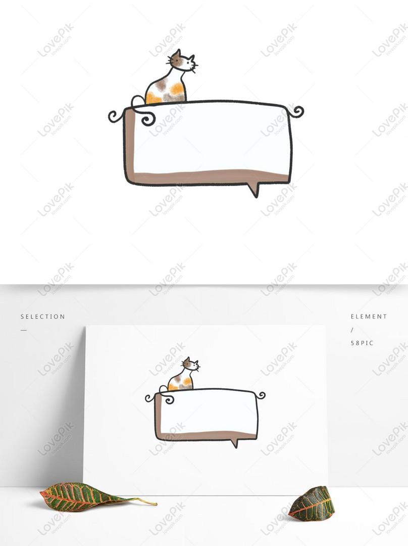 Digambar Tangan Atap Kucing Dialog Hewan Kartun Lucu Gambar