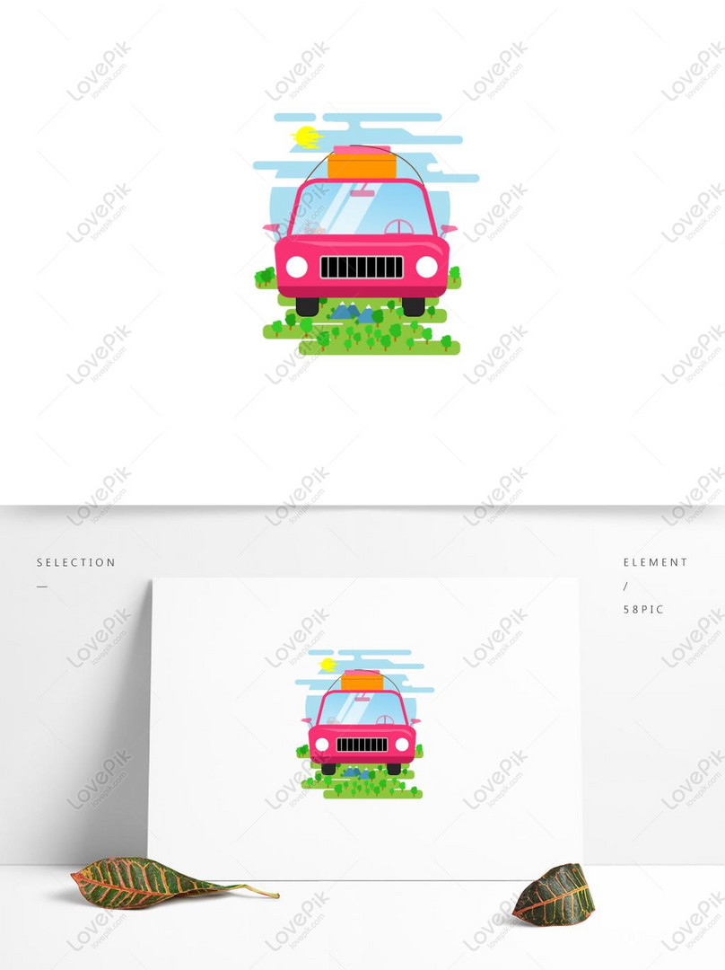 character tourist forest blue sky white clouds sunshine car lugg