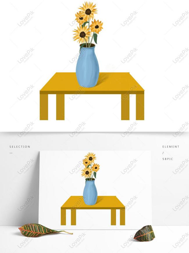 Bunga Matahari Yang Digambar Tangan Dalam Vas Di Atas Meja Gambar Unduh Gratis Grafik 732352135 Format Gambar Psd Lovepik Com
