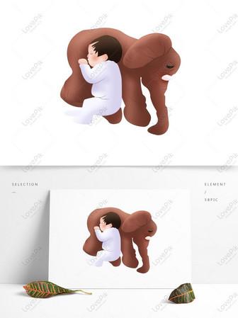 Budak Kartun Yang Berlutut Di Atas Katil Yang Menangis Unsur Asl Gambar Unduh Gratis Imej 732479476 Format Psd My Lovepik Com