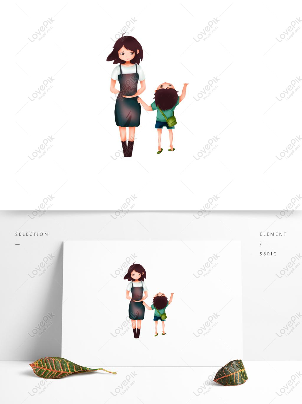Pretty Mother And Little Boy Cartoon Element Psd Images Free Download 1369 1024 Px Lovepik Id 732364195