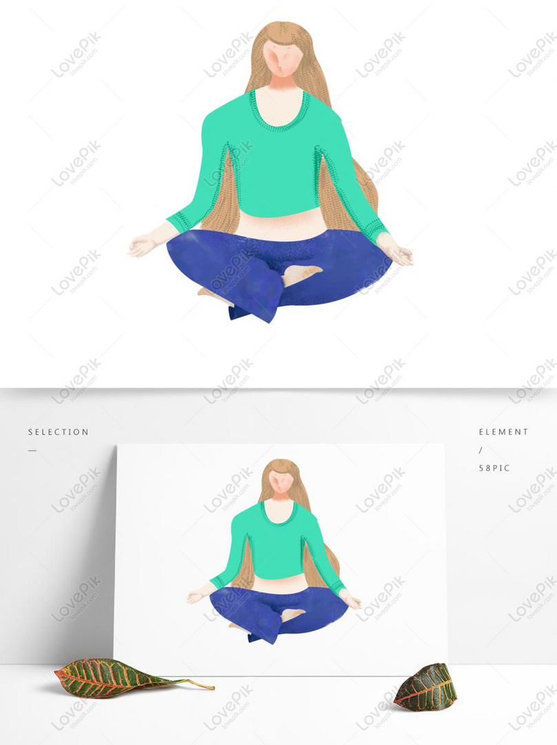 Hand Drawn Cartoon Meditation Blonde Doing Yoga Fitness Psd Images Free Download 1369 1024 Px Lovepik Id 732372866