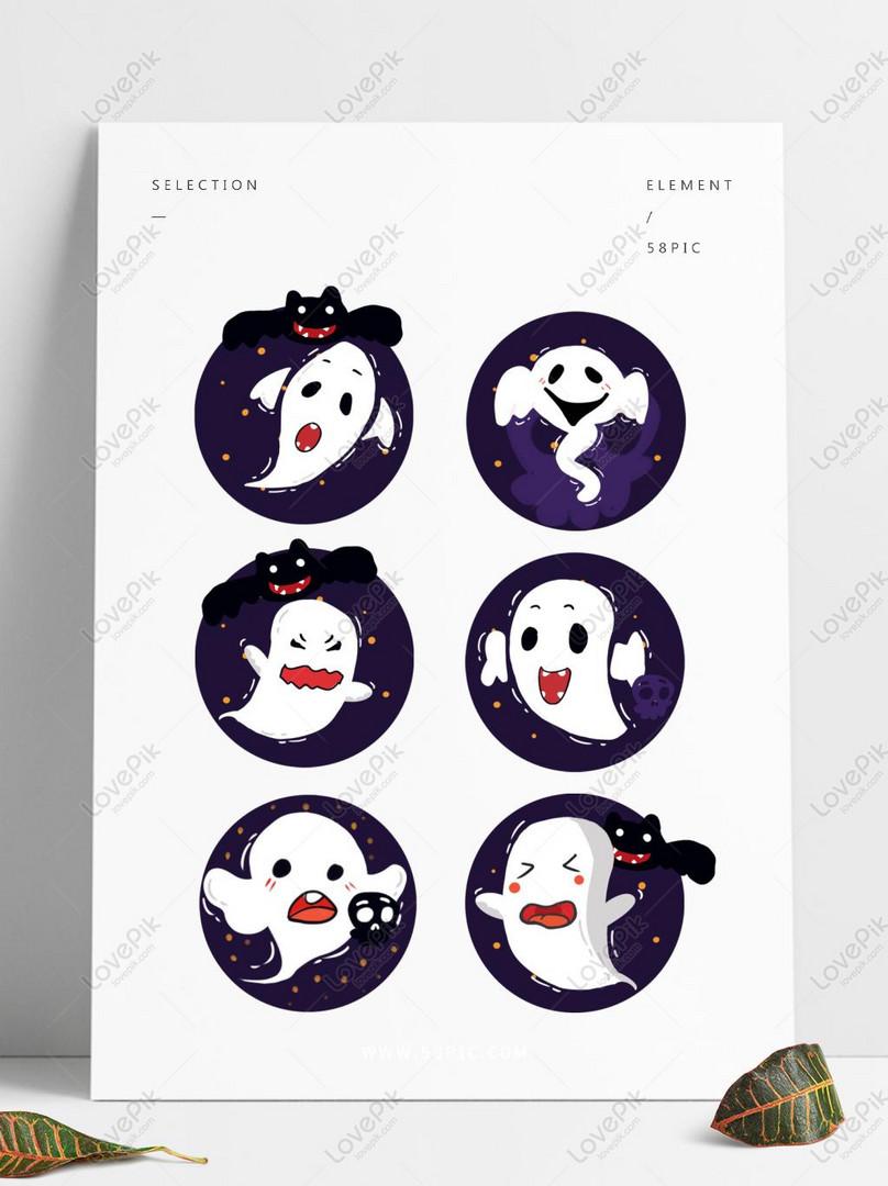 Halloween Hantu Kartun Putih Seram Unsur Ilustrasi Datar