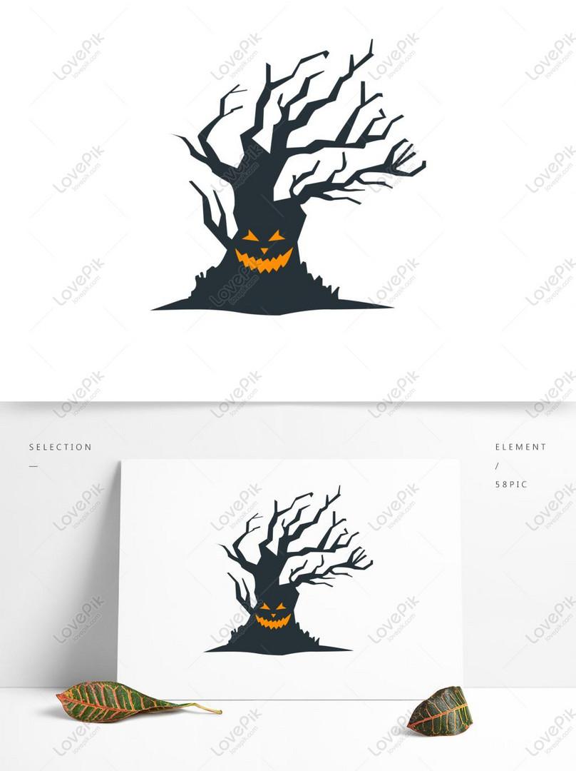 Tangan Kartun Halloween Ditarik Unsur Unsur Pokok Seram Lucu
