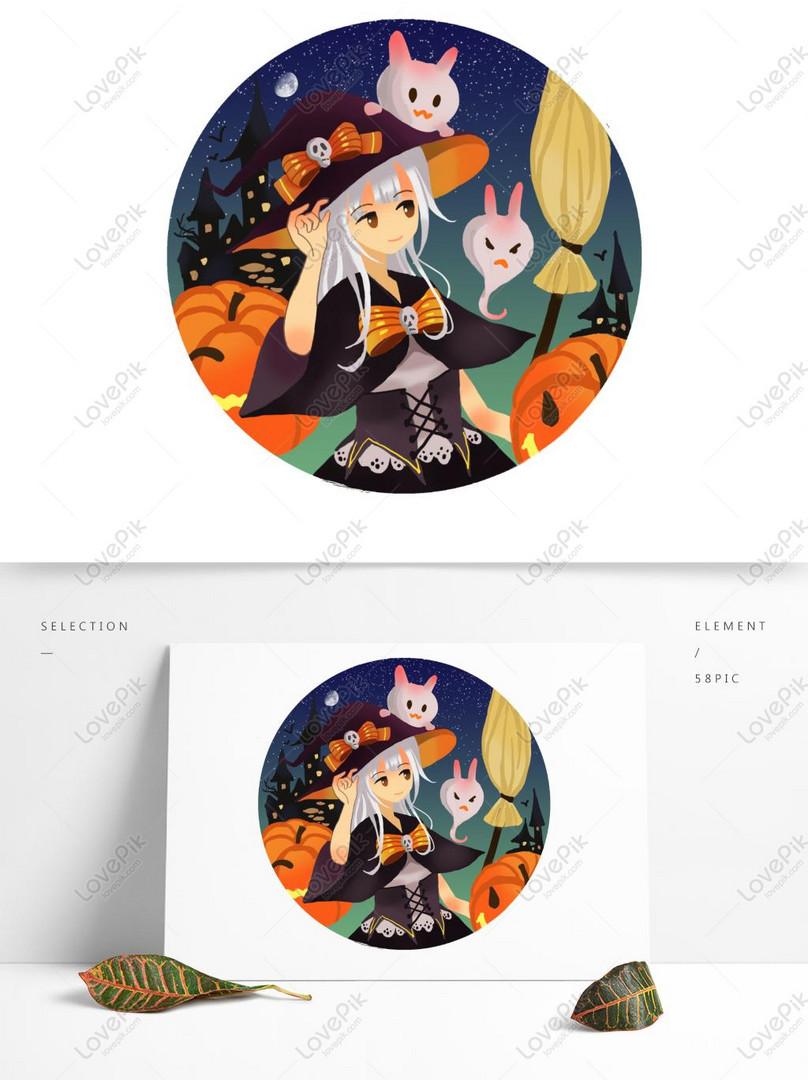 halloween penyihir ilustrasi komersial elemen komersial