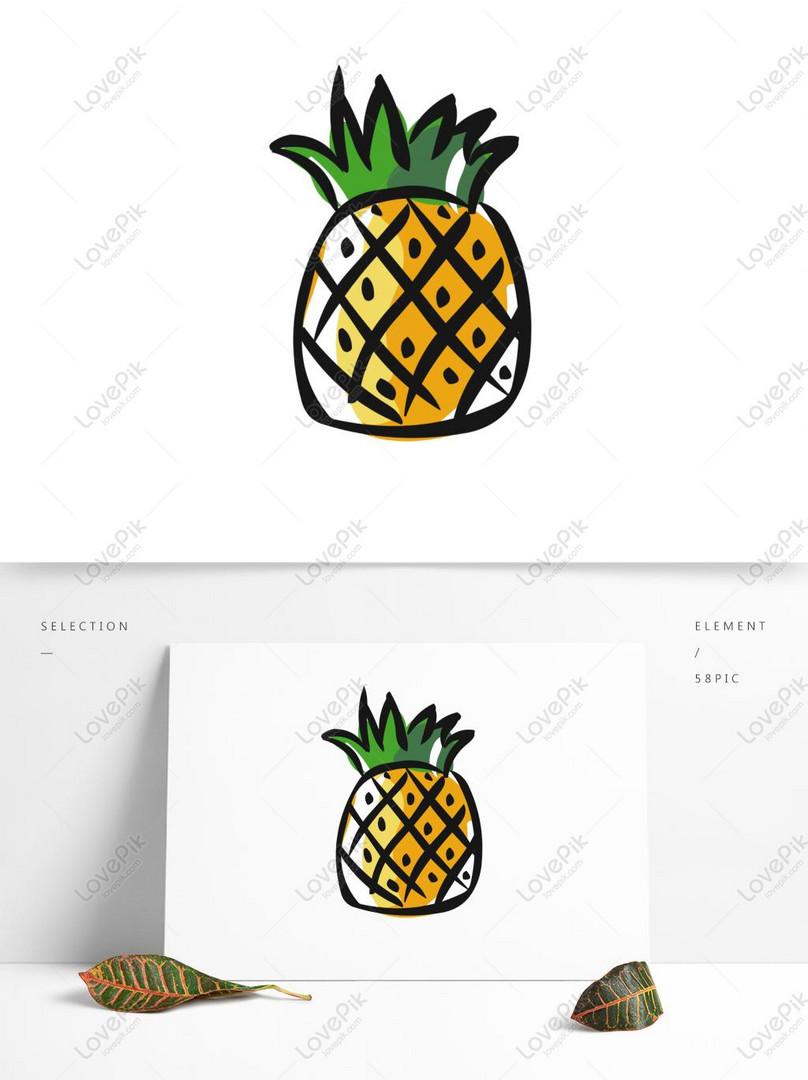 Photo De Ananas De Fruits De Dessin Animé Mignon Dessinés à