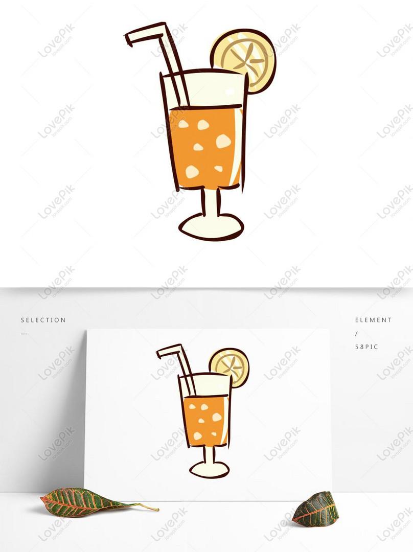 Unsur Makanan Tangan Ditarik Jus Minuman Kartun Comel Gambar Unduh