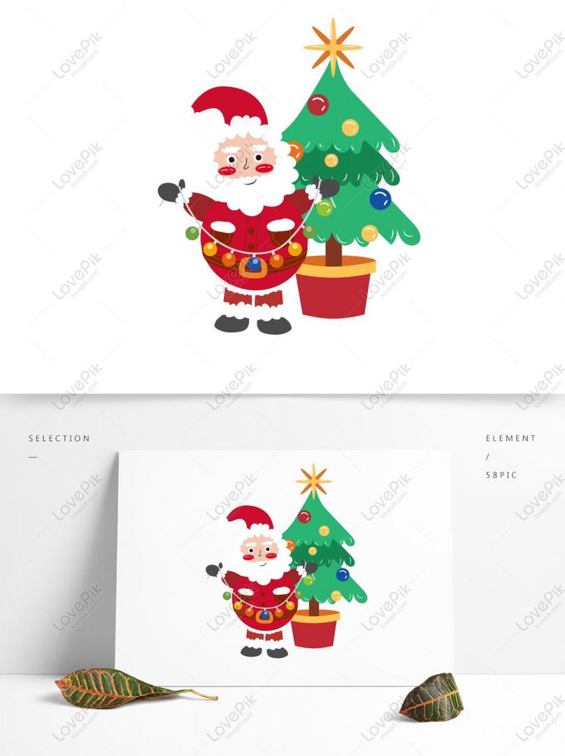 cartoon cute santa claus gift sleigh winter christmas tree eleme ai images free download 1369 1024 px lovepik id 732403306 cartoon cute santa claus gift sleigh