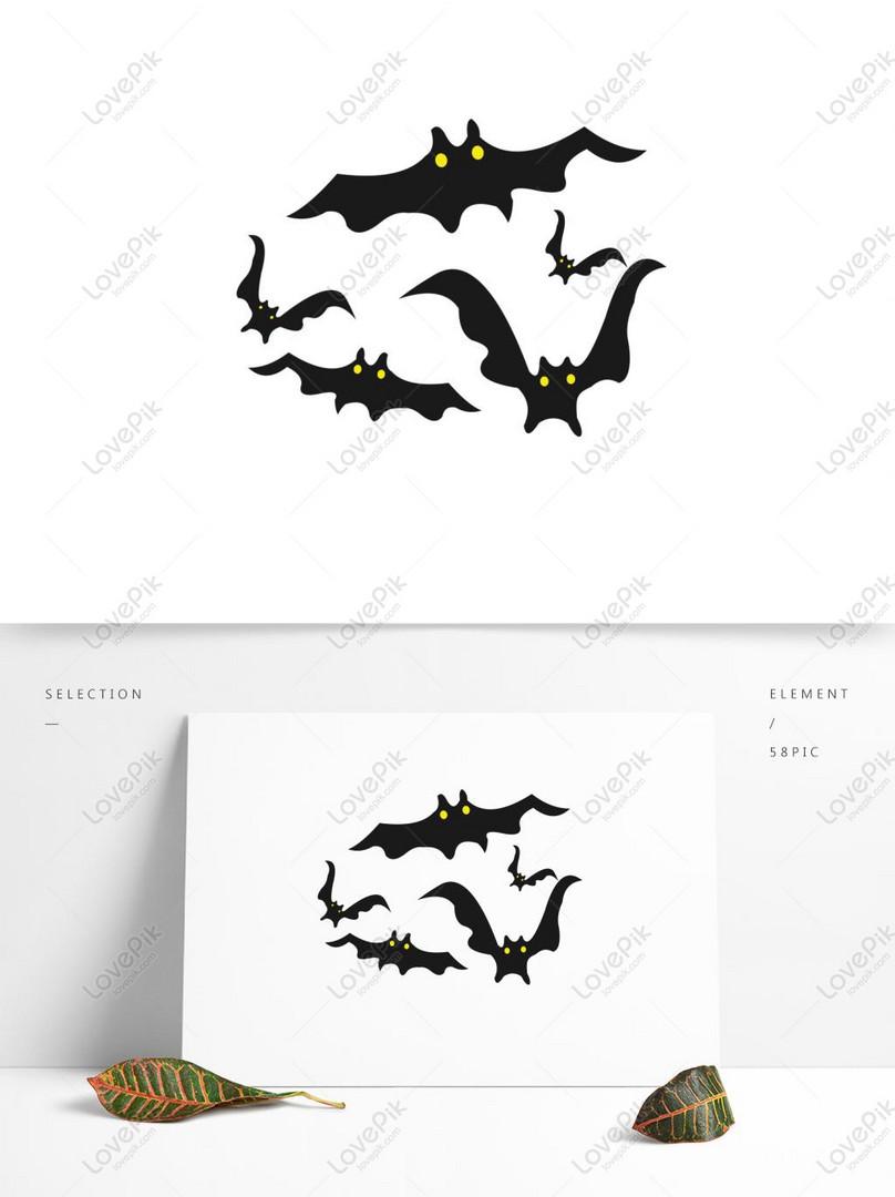 Elemen Halloween Kelelawar Kartun Siluet Jahat Lucu Gambar