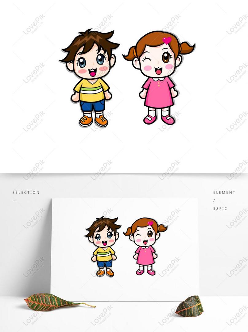 Kartun Lucu Anak Kecil Gadis Kecil Bahan Vektor Murid Gambar