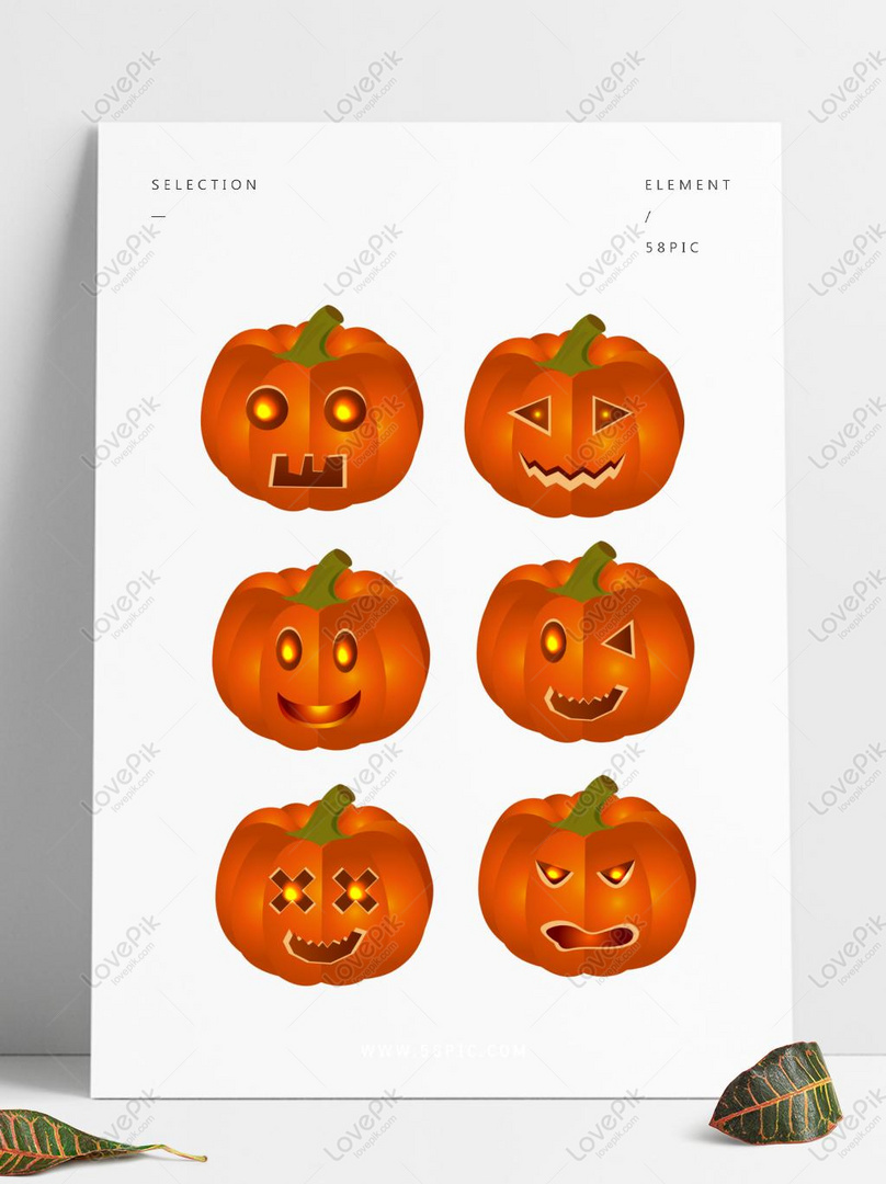 Halloween Labu Elemen Lucu Emoticon Kreatif Gambar Unduh