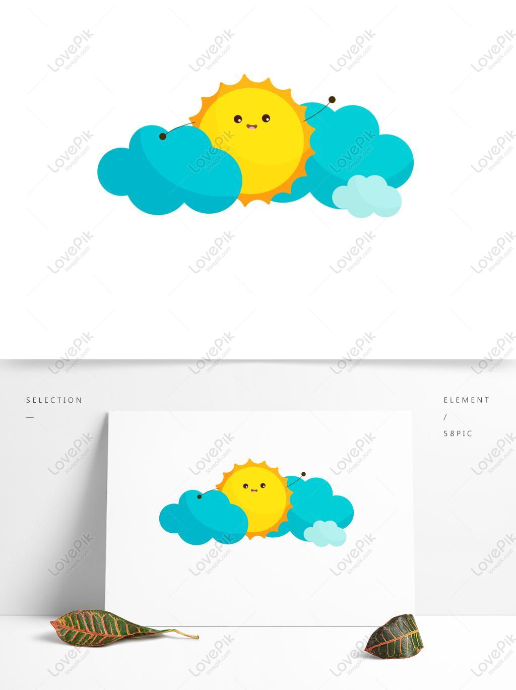 Gambar Kartun Panggilan Tangan Awan Biru Salam Lucu Matahari